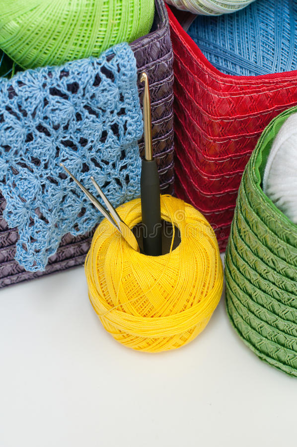 Download Colorful Yarn For Knitting In Colorful Baskets Stock Photos - Image: 29915863