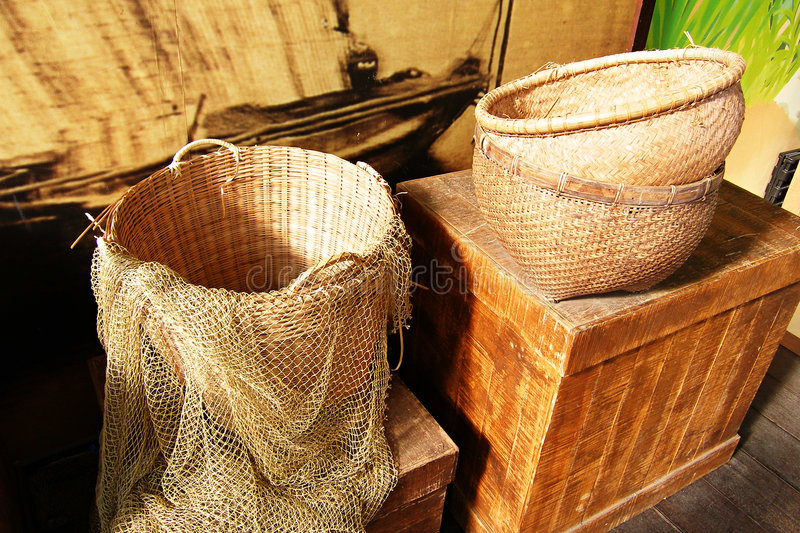 Download Baskets and fishing net stock image. Image of brown, crate - 4802395