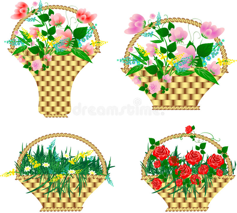 Download Baskets with flowers stock vector. Illustration of green - 19386033