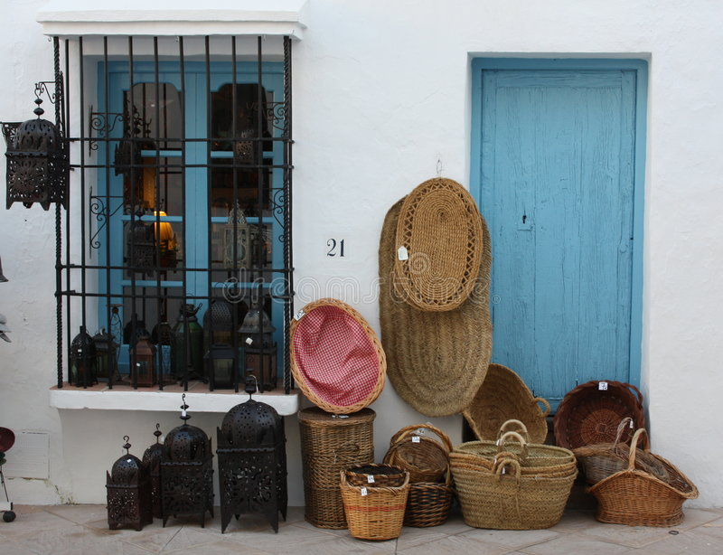 Baskets and Lamps for Sale ( Spain ) royalty free stock images