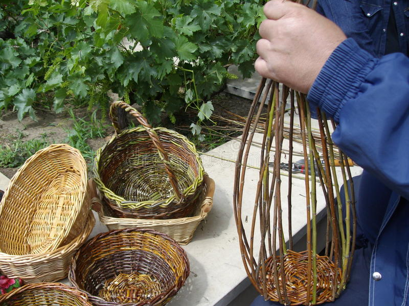 Baskets maker. And detail of weaving of canes stock images