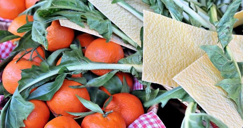 Baskets of mandarin oranges royalty free stock images