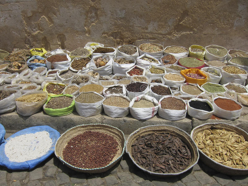 Baskets and sacks with all kinds of dried herbs in Morocco. Basketsand sacks with all kinds of dried herbs in the street of Marrakesh, Morocco stock image