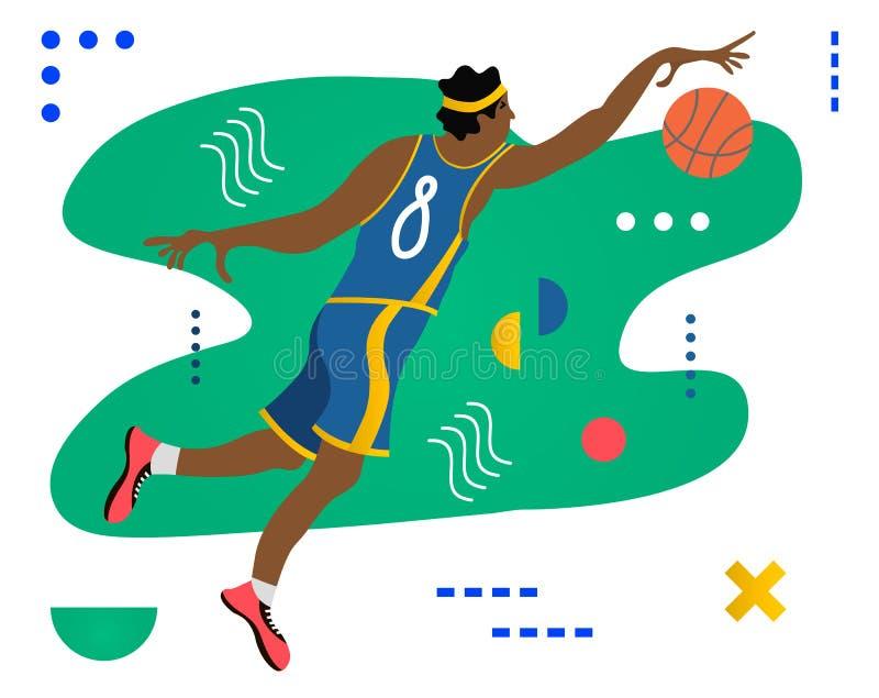 Basketspelare med bollen Basketspelaren som gör Slam, doppar Idérik vektorillustration som göras i abstrakt sammansättning royaltyfri illustrationer