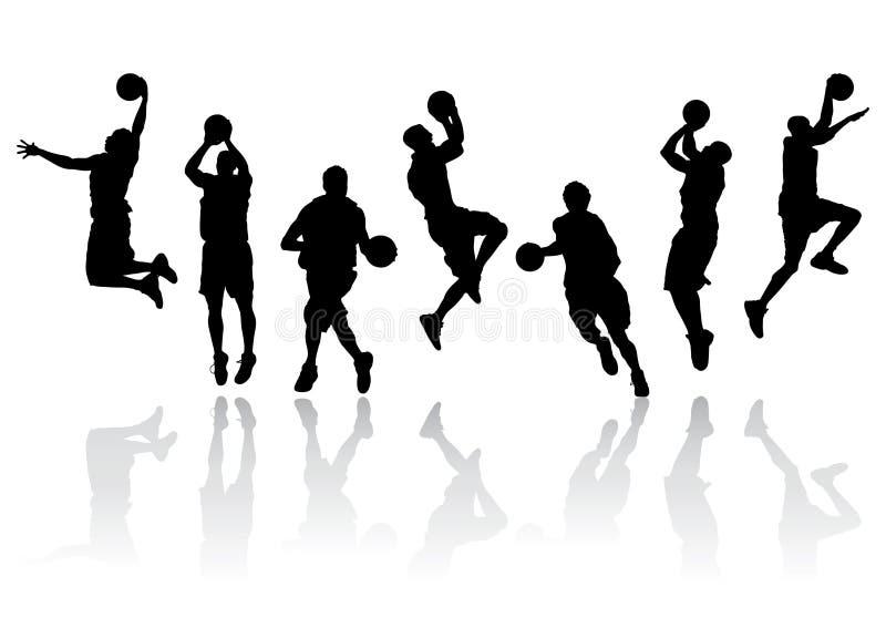 basketspelare silhouettes vektorn royaltyfri illustrationer