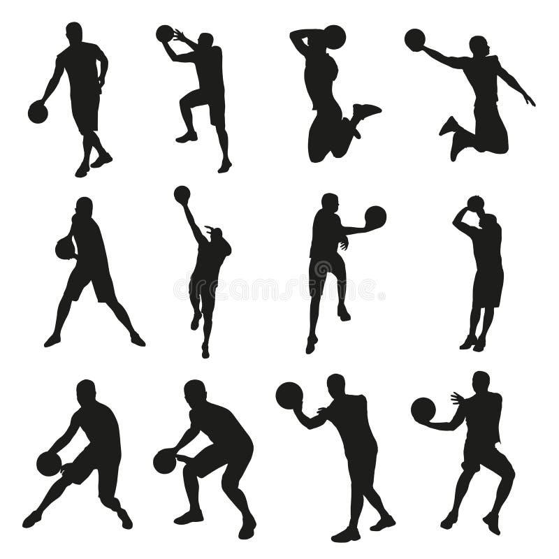 Basketspelare, uppsättning av vektorkonturer royaltyfri illustrationer