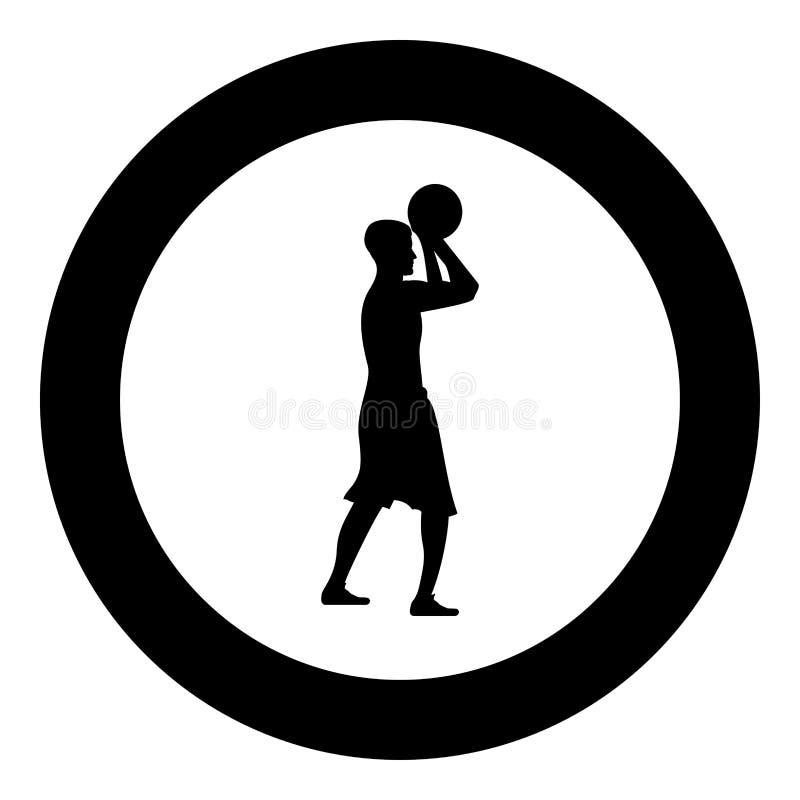 Basketspelaren kastar en basketman som skjuter illustrationen för färg för svart för symbolen för bollsidosikten i cirkelrunda vektor illustrationer