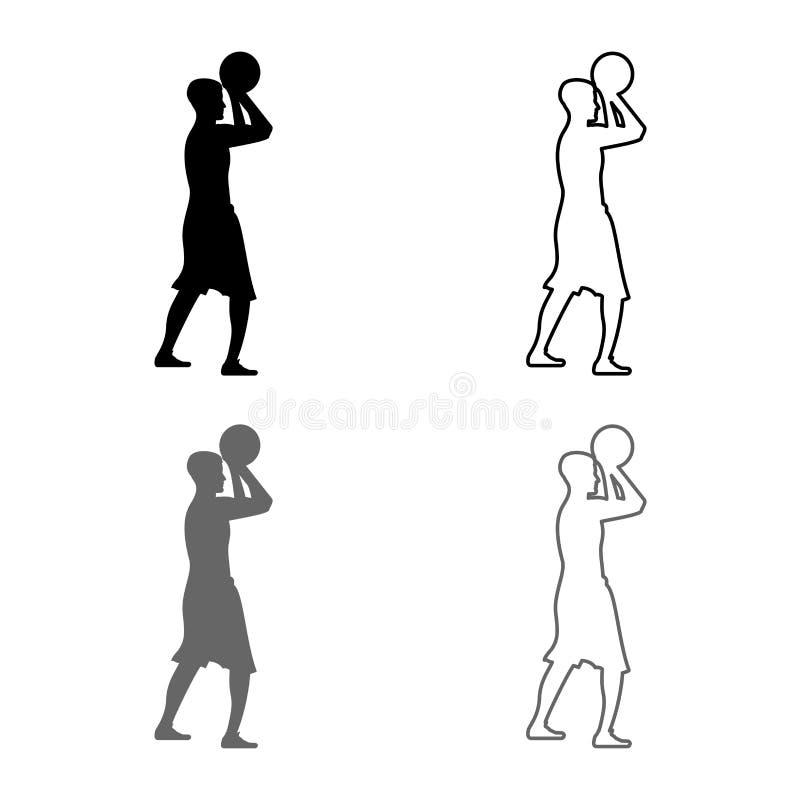 Basketspelaren kastar en basketman som skjuter symbolen för bollsidosikten, ställde in plan stil för grå svart översikt för färgi stock illustrationer
