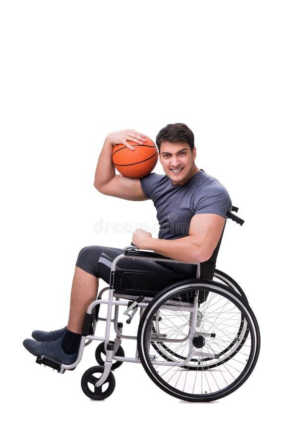 Basketspelaren som återställer från skada på rullstolen royaltyfria foton