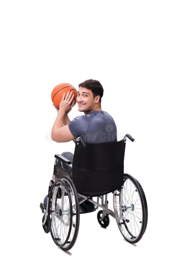 Basketspelaren som återställer från skada på rullstolen fotografering för bildbyråer