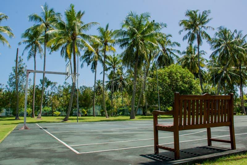 Basketspelplan på den tropiska semesterorten nära djungler arkivfoton