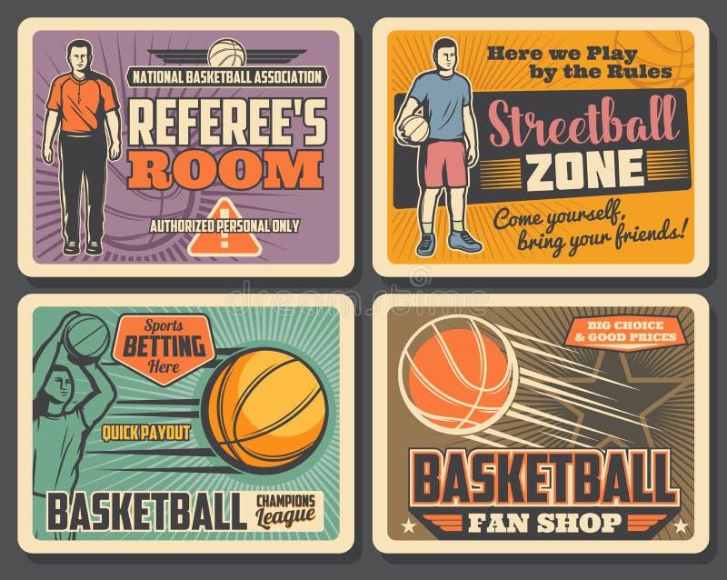 Basketsportklubba, streetballturnering royaltyfri illustrationer