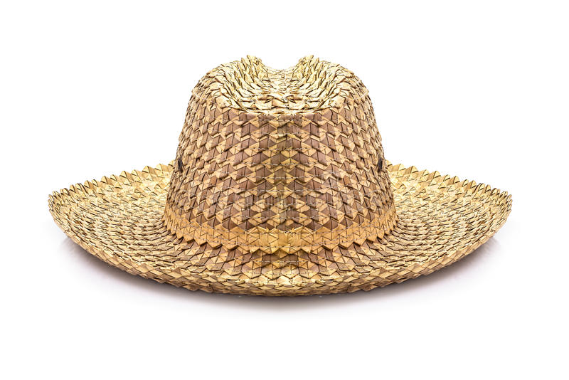 Basketwork hat. Traditional basketwork hat isolated on white background stock image