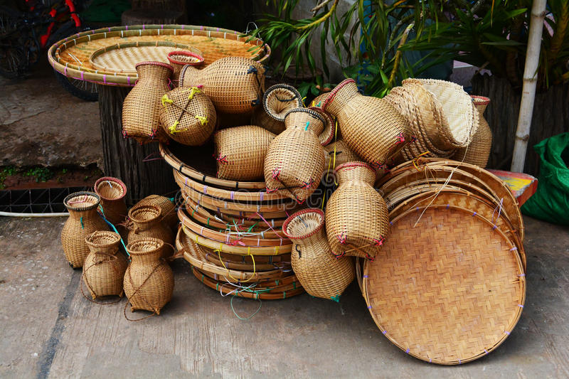 Basketwork. Image showing  and other handicraft items for sale royalty free stock photography