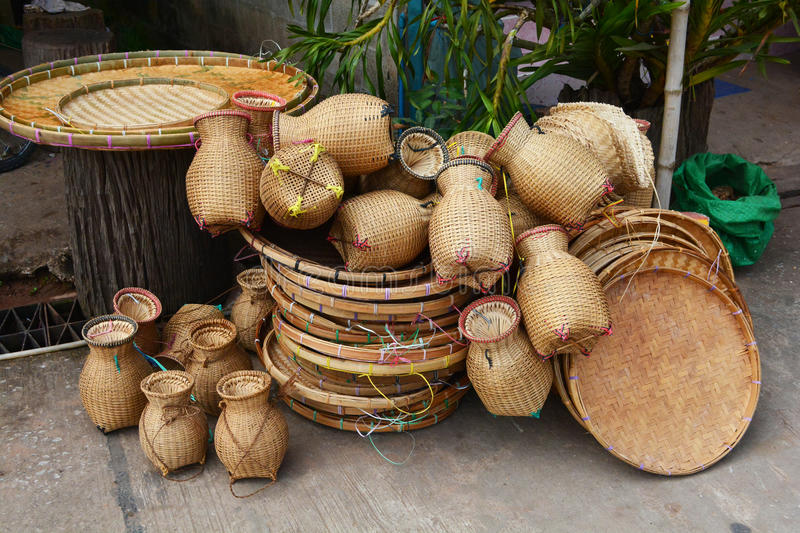 Basketwork. Image showing  and other handicraft items for sale stock image