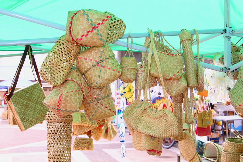 Basketwork, Rodrigues Island. Image showing basketwork and other handicraft items on sale, Rodrigues Island, Mauritius stock image