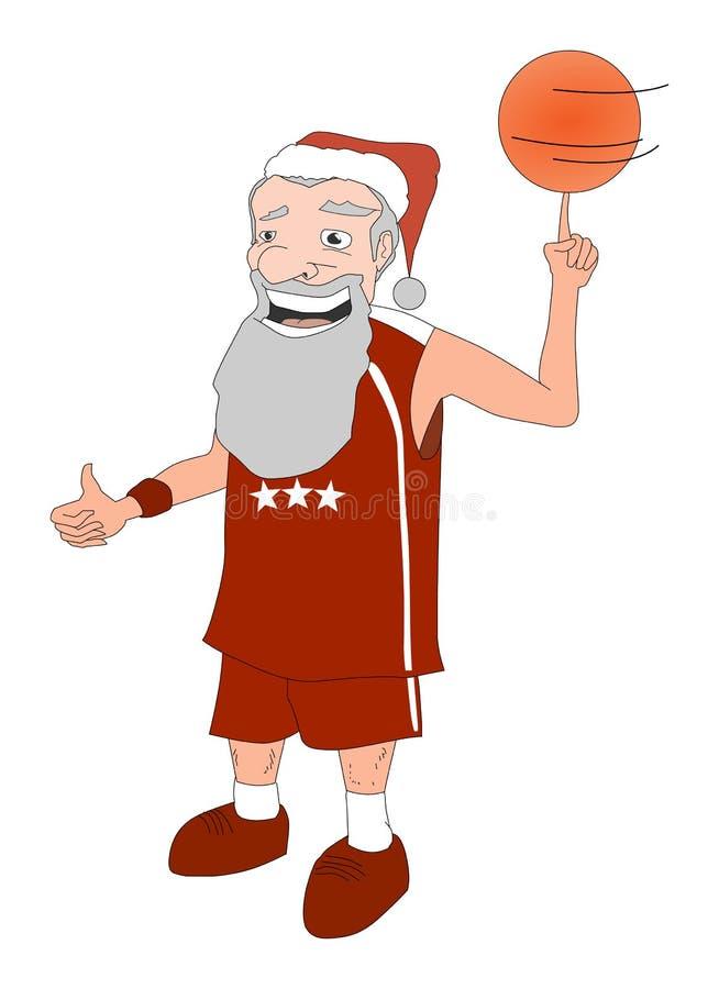 Baskteball de Papai Noel ilustração do vetor