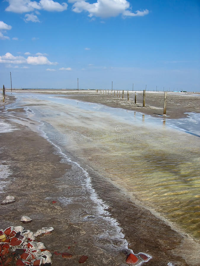 Baskunchak salt extraction, Russia. Salty lake Baskunchak, deposit of salt, Russian Federation royalty free stock photo