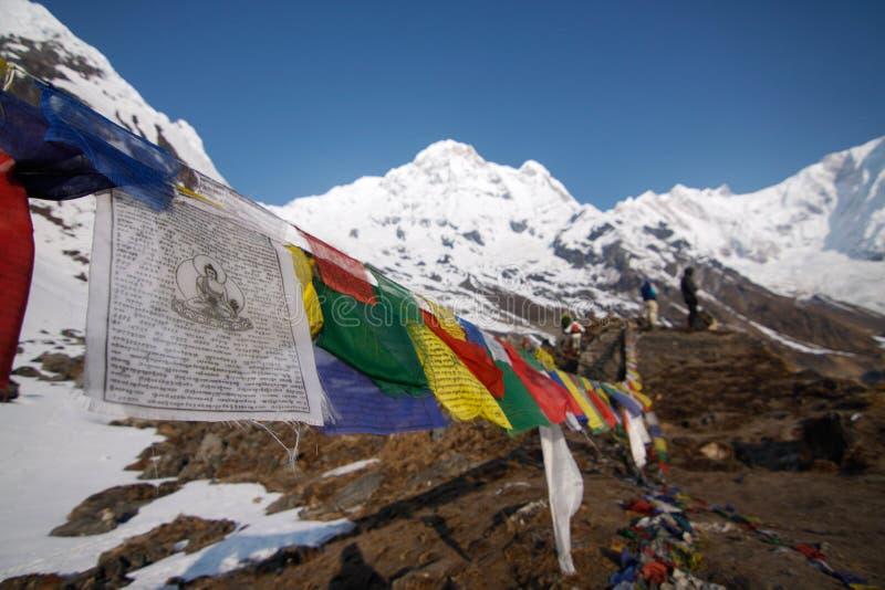 Baslägerför Annapurna arkivfoton