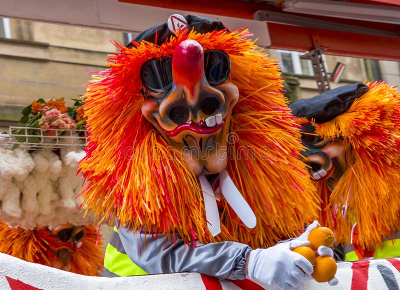 Basler Fasnacht, karneval av Baseln, Basel, Schweiz royaltyfria bilder