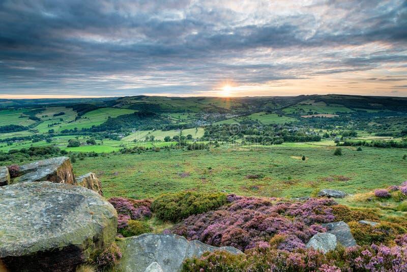 Baslow Edge in the Peak District stock photos
