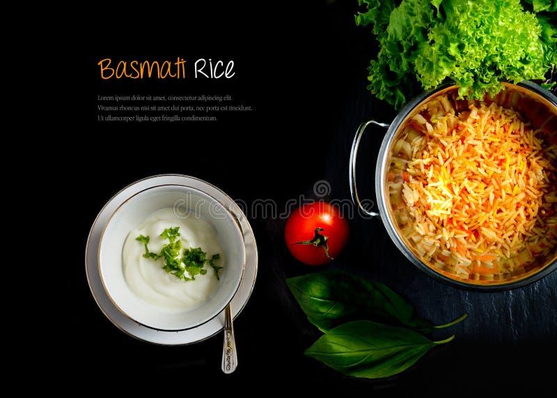 Basmati Rice I jogurt Przedłużyć zdjęcia stock