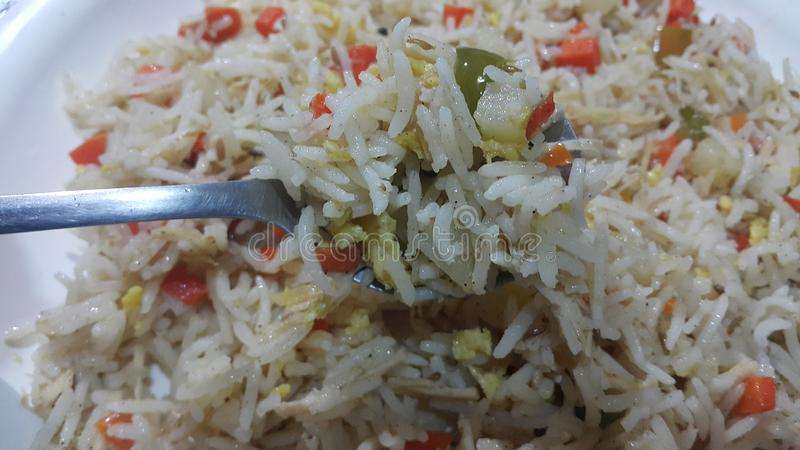 Basmati Rice Pulao or pulav with Peas, or vegetable rice royalty free stock image