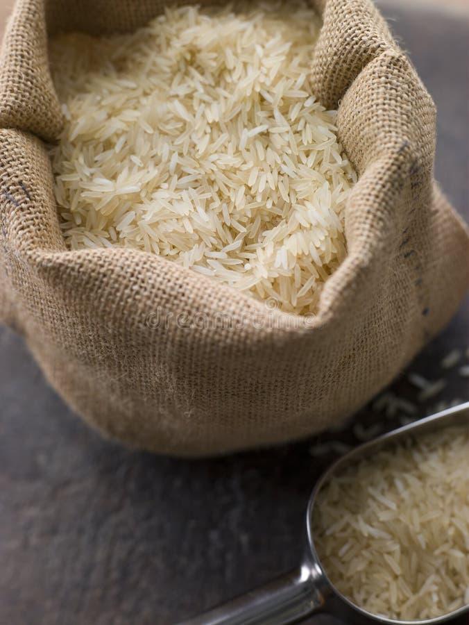 Basmati Rice In Sack. Close Up Of Basmati Rice In Sack royalty free stock photos