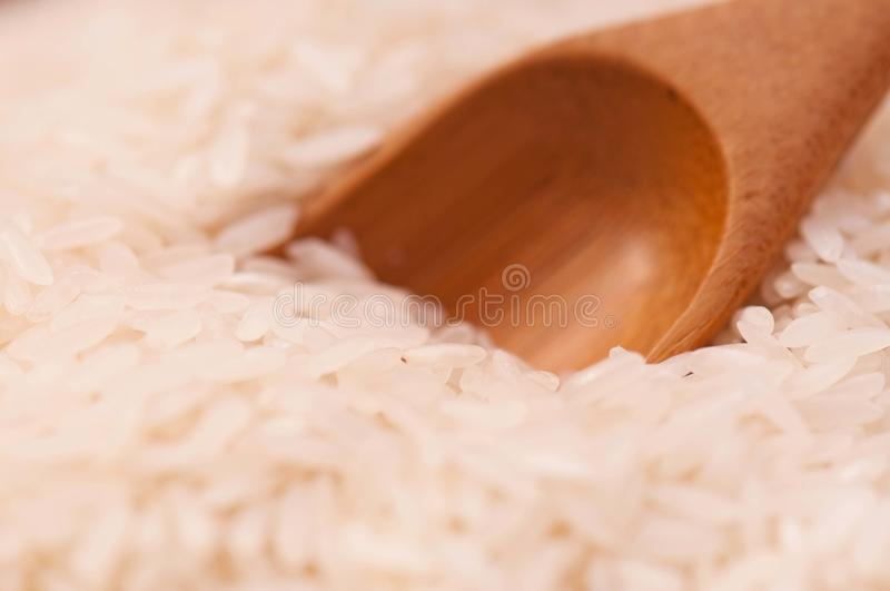 Basmati rice. Uncooked basmati rice with bamboo spoon close-up royalty free stock photography