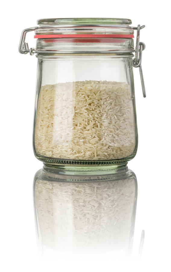 Basmati rijst in een kruik royalty-vrije stock foto