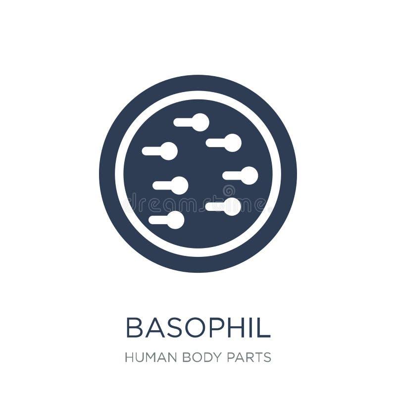 Basophilsymbol Moderiktig plan vektorBasophilsymbol på den vita backgroen royaltyfri illustrationer