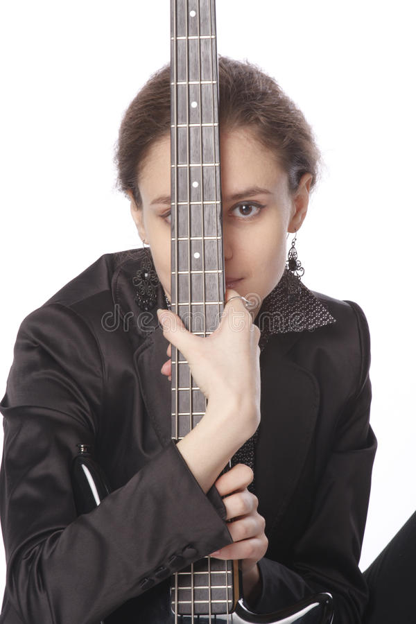 basowej gitary womanwith potomstwa obraz stock