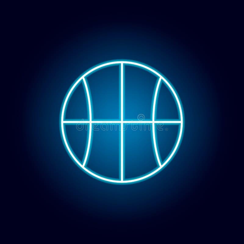 basquetebol, bola, ícone do esboço do esporte no estilo de néon elementos da linha ícone da ilustração da educação os sinais, sím ilustração do vetor