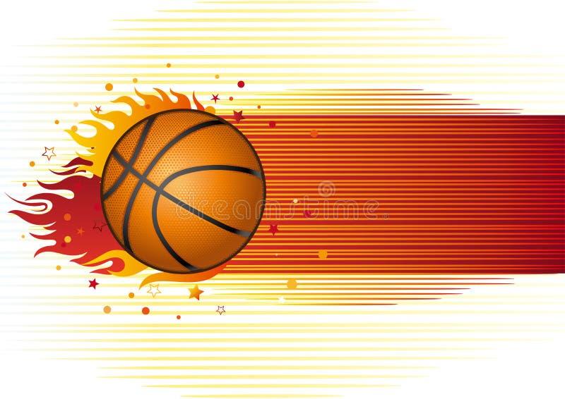 basquetebol com flamas ilustração do vetor