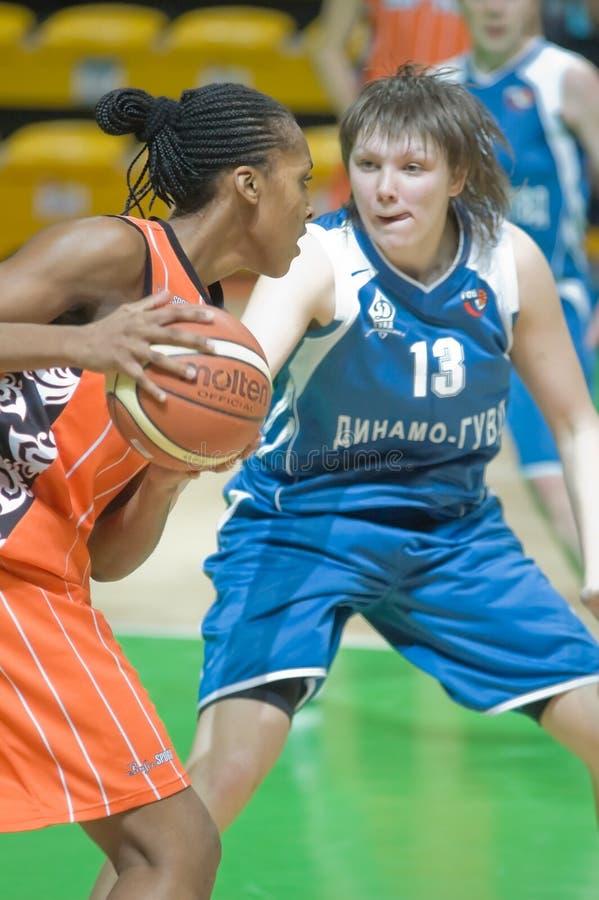 Basquetebol das mulheres do russo fotos de stock