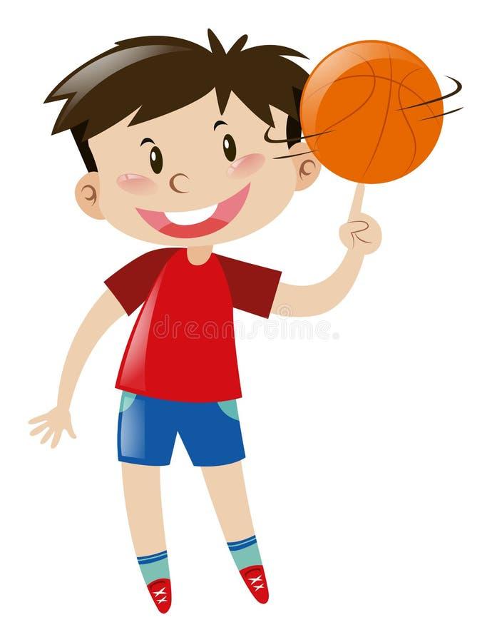 Basquetebol de giro do menino no dedo ilustração royalty free