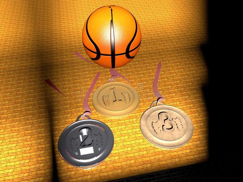 Basquetebol e medalhas ilustração stock