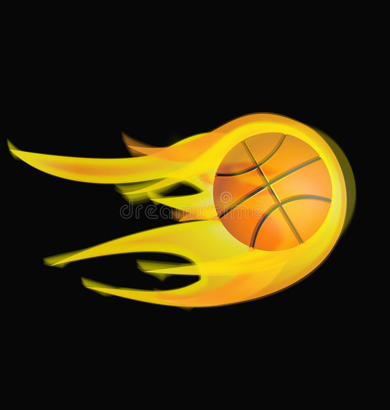 Basquetebol no fogo ilustração royalty free