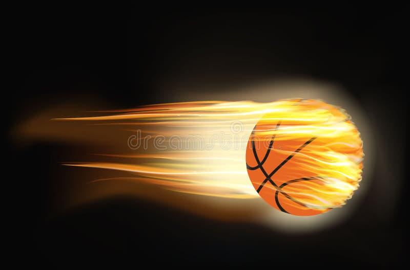 Basquetebol no fogo ilustração do vetor