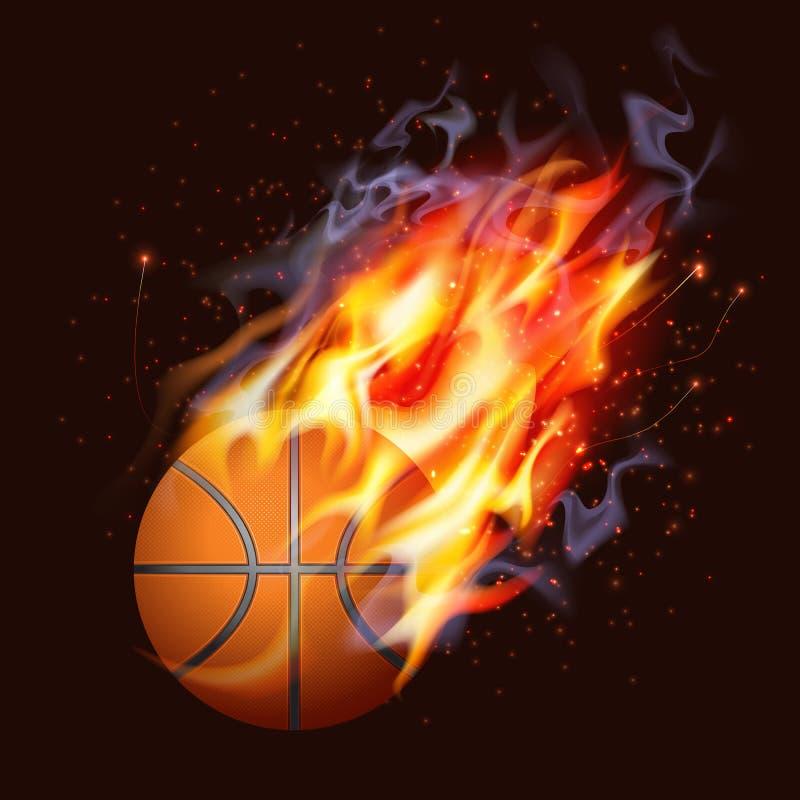 Basquetebol no incêndio ilustração do vetor