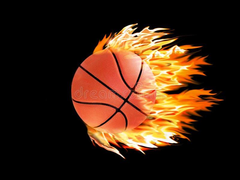 Basquetebol no incêndio ilustração stock