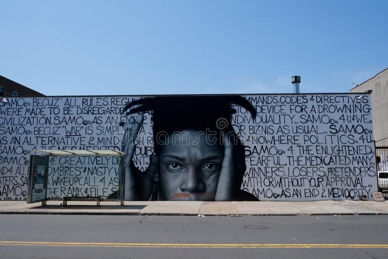 Basquiat grafitti i brooklyn, New York City arkivbilder