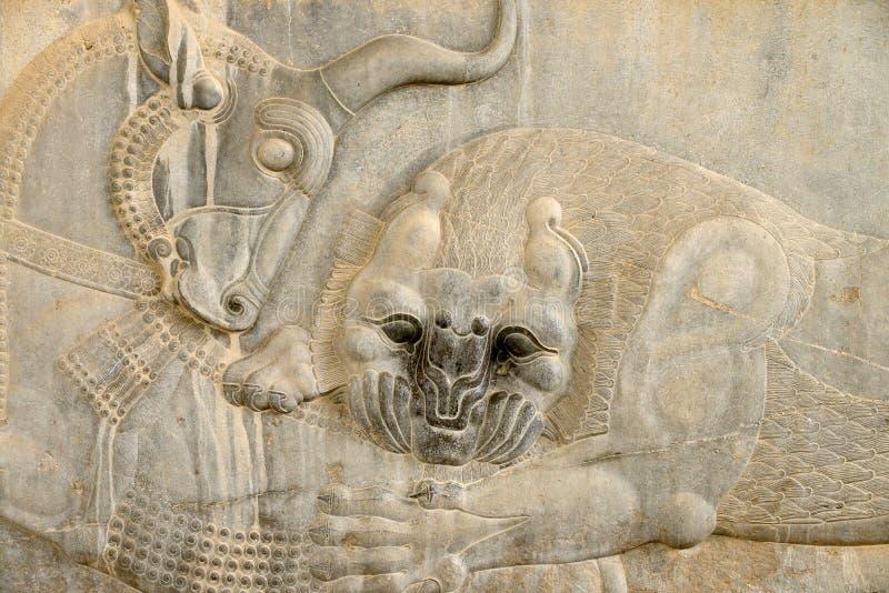 Basrelief av fördärvar av Persepolis i Iran arkivfoton