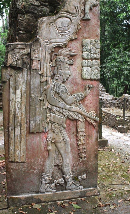 Basrelief som snider med av en Mayan konung, Palenque, Chiapas, Mexi royaltyfria bilder