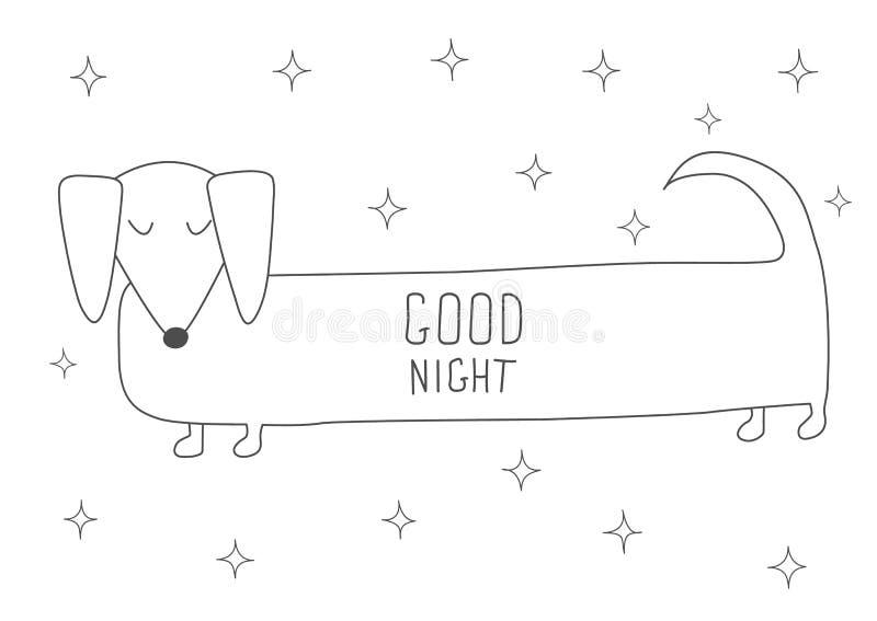 Bassê bonito do sono Livro para colorir Antistress Os elementos tirados mão para seus projetos vestem-se, cartaz, cartão, t-shirt ilustração stock