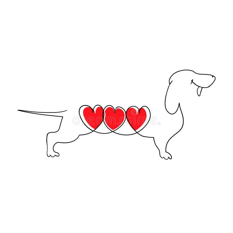 Bassê com três corações Bassê dos desenhos animados no amor Coração de um cão Ilustração do vetor no estilo liso Mão desenhada ilustração stock