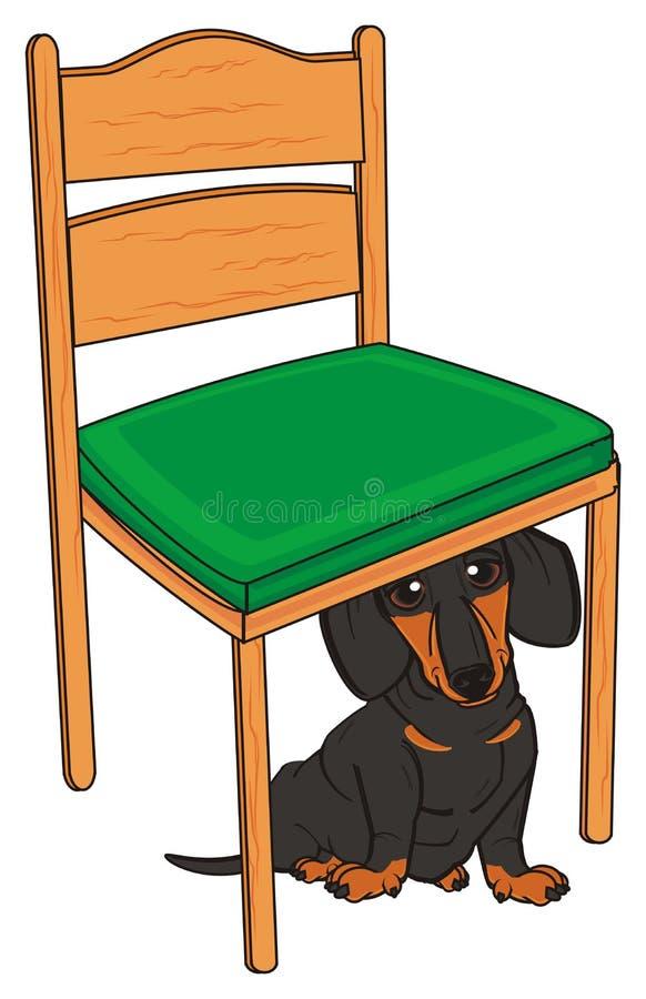 Bassê pequeno e uma cadeira ilustração do vetor