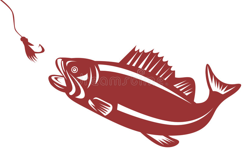 Download Bass attracted to a lure stock vector. Image of retro - 5049417