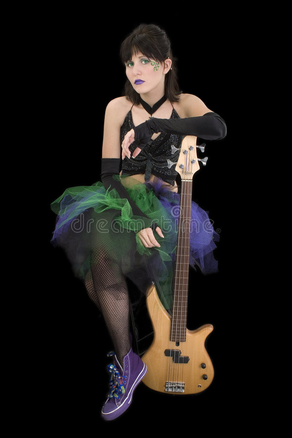 Bass Babe with Fretless royalty free stock images