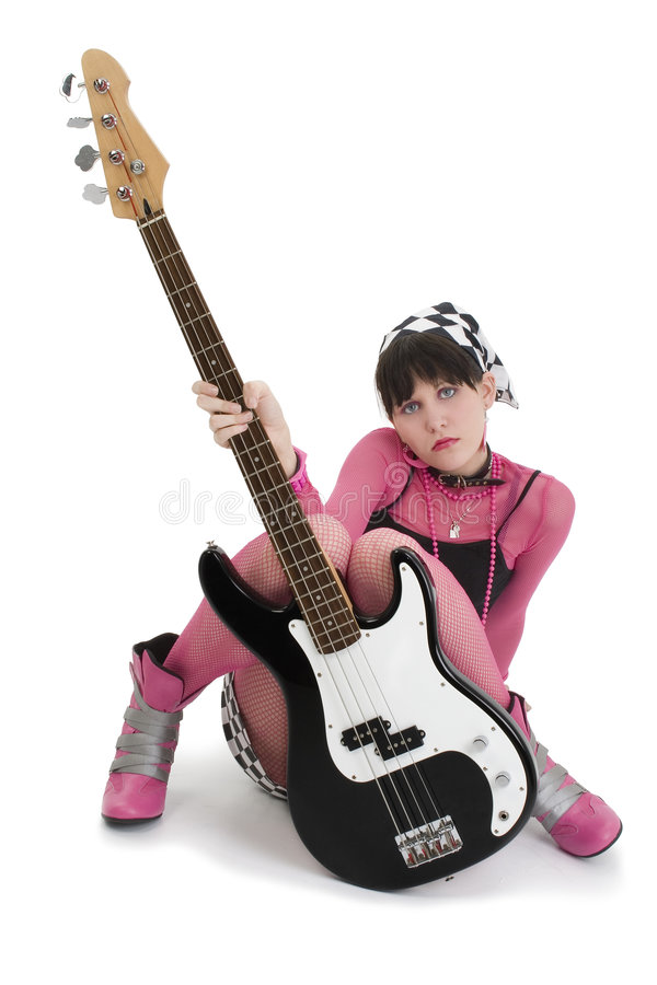 Bass Babe In Pink And Black royalty free stock photos